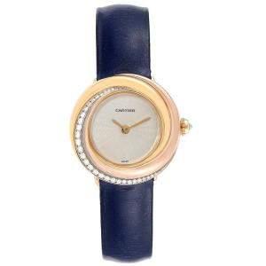 ساعة يد نسائية كارتييه ترينيتي WG200151 ذهب أصفر عيار 18 و ذهب وردي عيار 18 و ألماس و جلد عاجية 26.9 مم