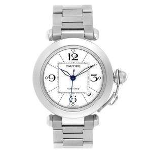 Cartier White Stainless Steel Pasha C W31074M7 Women's Wristwatch 35 MM