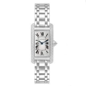Cartier Silver Guilloche 18K White Gold Diamonds Bezel Tank Americaine WB7018L1 Women's Wristwatch 19x35MM