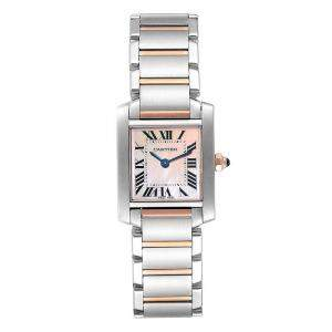 Cartier Rose MOP 18K Rose Gold and Stainless Steel Tank Francaise W51027Q4 Women's Wristwatch 20x25MM