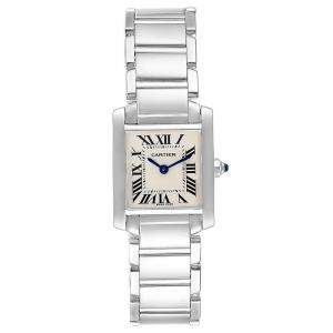 Cartier Silver 18K White Gold Tank Francaise W50012S3 Women's Wristwatch 20x25MM