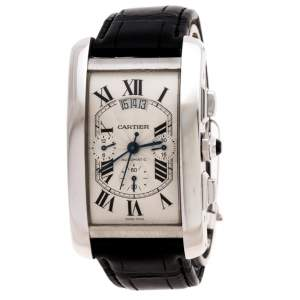 Cartier Opaline White 18K White Gold Leather Tank Americaine 2894 Men's Wristwatch 31.40 mm