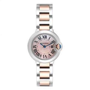 """ساعة يد نسائية كارتييه """"بالون بلو دبليو6920034"""" صدف و ذهب وردي عيار 18 و ستانلس ستيل وردية 28 مم"""