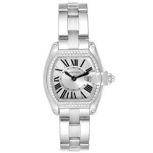 Cartier Silver Diamonds Pave 18K White Gold Roadster WE5002X2 Women's Wristwatch 36 x 30 MM