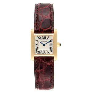 """ساعة يد نسائية كارتييه """"تانك فرانسيز دبليو50002إن2"""" ذهب أصفر عيار 18 فضية 20x25 مم"""
