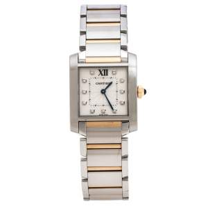 Cartier Silver 18K Rose Gold Stainless Steel Diamond Tank Francaise 3751 Women's Wristwatch 25 mm