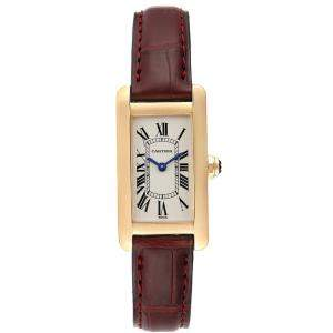 Cartier Silver 18K Yellow Gold Tank Americaine W2601556 Women's Wristwatch 19 x 35 MM
