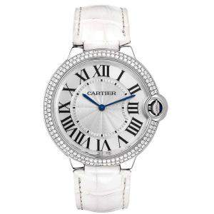 Cartier Silver Diamonds 18K White Gold Ballon Blue White Gold WE902056 Women's Wristwatch 40 MM