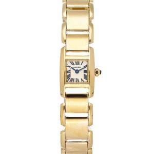 Cartier Silver 18k Yellow Gold Tankissime Small W650037H Women's Wristwatch 15 x 16 MM