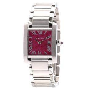 Cartier Raspberry Stainless Steel Tank Francaise W51030Q3 Women's Wristwatch 25 x 20 MM