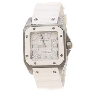 Cartier White Stainless Steel Santos 100 2878 Women's Wristwatch 33 mm