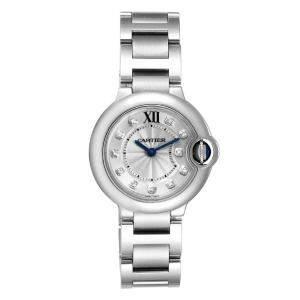 Cartier Silver Diamond Stainless Steel Ballon Bleu WE902073 Women's Wristwatch 29 MM