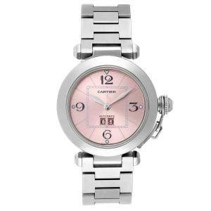 Cartier Pink Stainless Steel Pasha C De Cartier Automatic W31058M7 Women's Wristwatch 35 MM