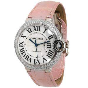 Cartier Silver Diamonds 18K White Gold Ballon Bleu WE900651 Women's Wristwatch 36 MM