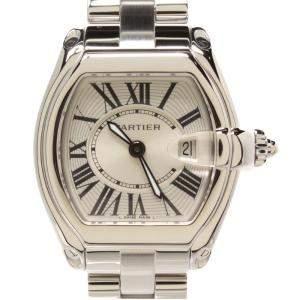 Cartier Silver Stainless Steel Roadster Quartz Women's Wristwatch 37MM