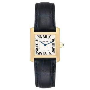 Cartier Silver 18K Yellow Gold Tank Francaise W5000356 Women's Wristwatch 25 x 30 MM