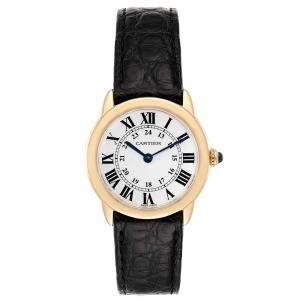 Cartier Silver 18K Yellow Gold Ronde Solo W6700355 Women's Wristwatch 29 MM