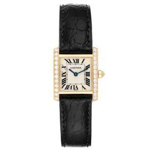 Cartier Silver Diamonds And 18K Yellow Gold Tank Francaise WE100131 Women's Wristwatch 20 x 25 MM