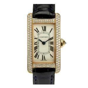 Cartier Silver Diamonds 18K Rose Gold Tank Americaine Women's Wristwatch 19 MM