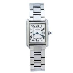 """ساعة يد نسائية كارتييه """"تانك سولو 3170"""" ستانلس ستيل فضية 24 مم"""