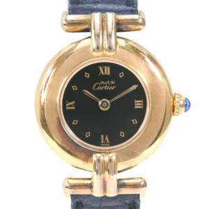 Cartier Black Gold Tone Stainless Steel Vermeil 590002 Women's Wristwatch 24 MM