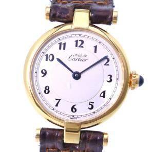 ساعة يد نسائية كارتييه 590004 ماست دو كارتييه ستانلس ستيل ذهبي اللون فضية 24 مم