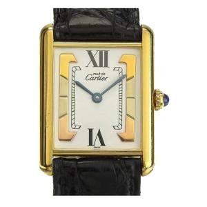 ساعة يد رجالية كارتييه ماست تانك فيرميل 5057001 ستانلس ستيل مطلية ذهب بيضاء 23 مم