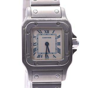 Cartier White Stainless Steel Santos Galbee Women's Wristwatch 23 MM