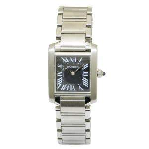 Cartier Black Stainless Steel Tank Francaise Women's Wristwatch 25 x 20 MM