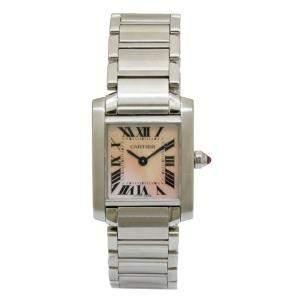 ساعة يد نسائية كارتييه تانك فرانشايز W51008Q3 ستانلس ستيل بيضاء/وردية 20 مم
