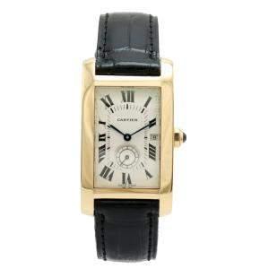 ساعة يد نسائية كارتييه تانك أميريكان W2600351 ذهب أصفر عيار 18 بيضاء 24 مم