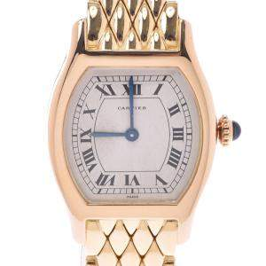 Cartier White 18K Yellow Gold Tortue Women's Wristwatch 22 MM