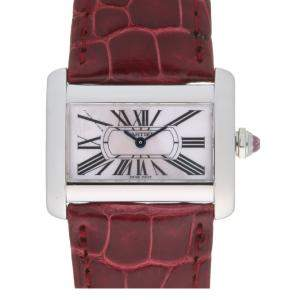 ساعة يد رجالية كارتييه ميني تانك ديفان W6301455 ستانلس ستيل بيضاء 31 مم