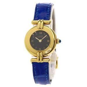 Cartier Black Gold Plated Stainless Steel Vermeil Quartz Women's Wristwatch 23.5 MM