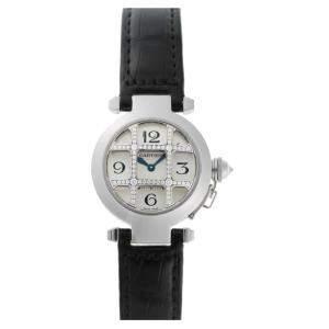 Cartier Silver Diamonds 18K White Gold Pasha Grid Quartz WJ11932G Women's Wristwatch 32 MM
