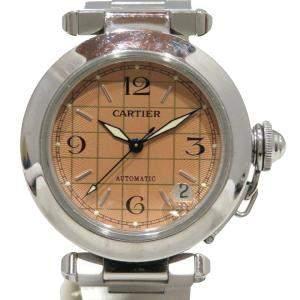 Cartier Salmon Stainless Steel Pasha C Automatic W31024M7 Women's Wristwatch 35 MM