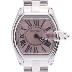 Cartier Pink Stainless Steel Roadster Quartz W62017V3 Women's Wristwatch 36 x 30 MM