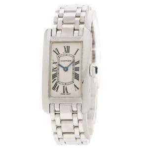 Cartier White 18K White Gold Tank American Women's Wristwatch 34 x 19 MM