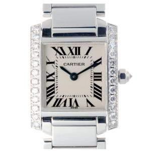 Cartier White Diamonds 18K White Gold Tank Francaise Quartz WE1002S3 Women's Wristwatch 20 MM