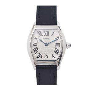 Cartier Silver 18K White Gold Tortue W1556361 Women's Wristwatch 30 x 24 MM