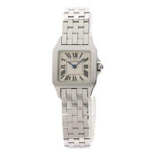 Cartier White Stainless Steel Santos Demoiselle W25064Z5 Women's Wristwatch 20 MM