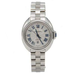 Cartier Silver Cle de Cartier Stainless Steel Automatic Ladies Wristwatch 31MM