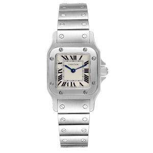 Cartier White Stainless Steel Santos Galbee W20056D6 Women's Wristwatch 24 x 24 MM