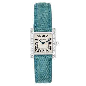 Cartier Silver Diamonds 18K White Gold Tank Francaise WE100231 Women's Wristwatch 20 x 25 MM