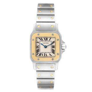 Cartier White 18K Yellow Gold And Stainless Steel Santos Galbee W20012C4 Women's Wristwatch 24 x 24 MM