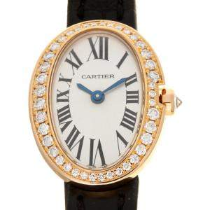 Cartier White Diamonds 18K Rose Gold Mini Baignoire WB520028 Women's Wristwatch 19 MM