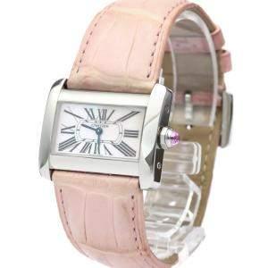 Cartier Pink MOP Stainless Steel Mini Tank Divan W6301455 Women's Wristwatch 32 MM