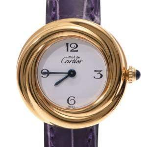 Cartier White Gold Plated Stainless Steel Quartz Must Trinity Vermeil Women's Wristwatch 26 MM