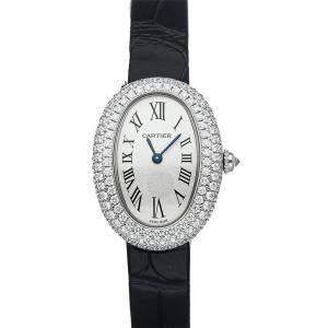 Cartier White Diamonds 18K White Gold Baignoire WJBA0015 Women's Wristwatch 32 MM x 26 MM