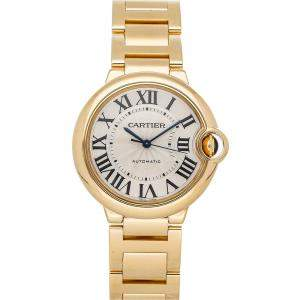 Cartier White 18K Yellow Gold Ballon Bleu de Cartier W69003Z2 Women's Wristwatch 36 MM